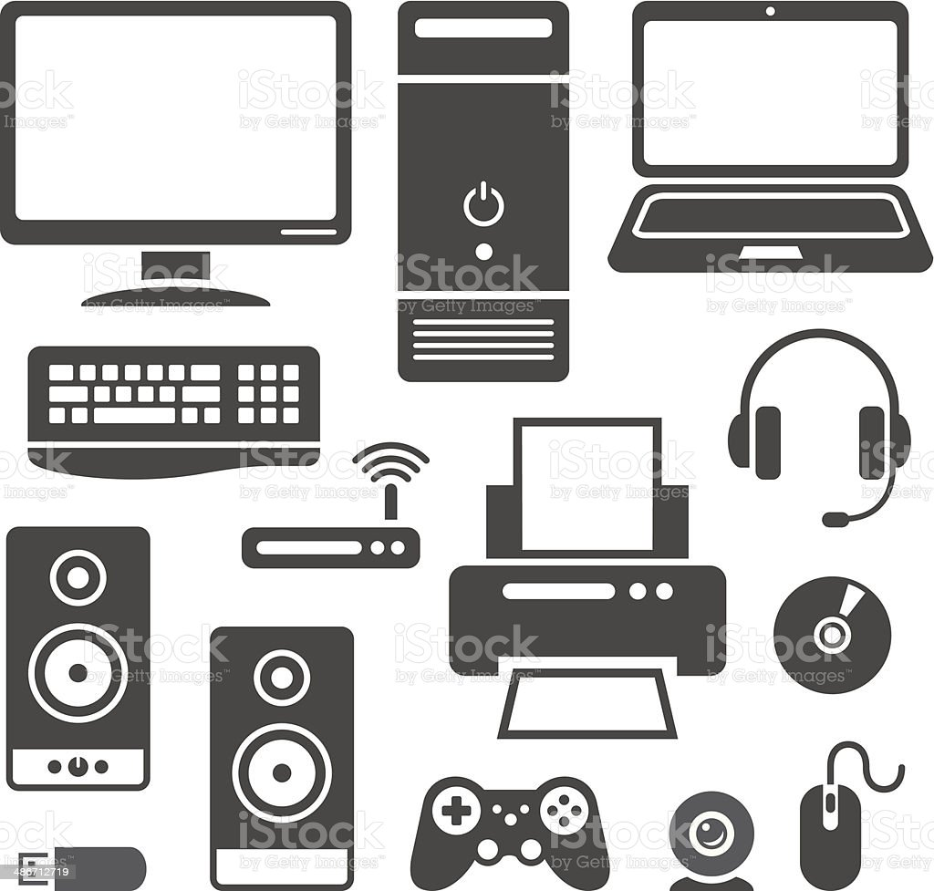 Computer devices icons vector art illustration
