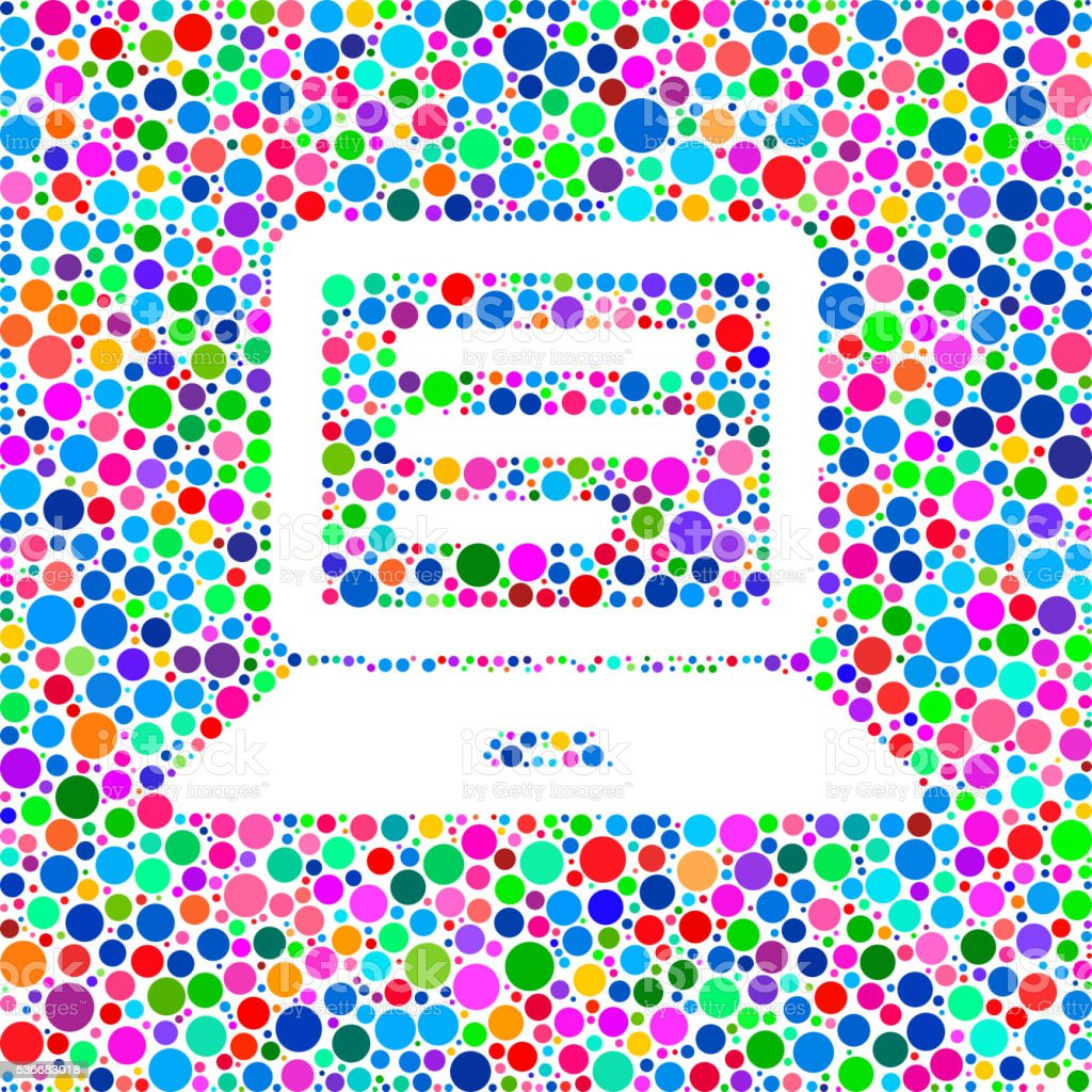 Computer Document Icon on Color Circle Background Pattern vector art illustration