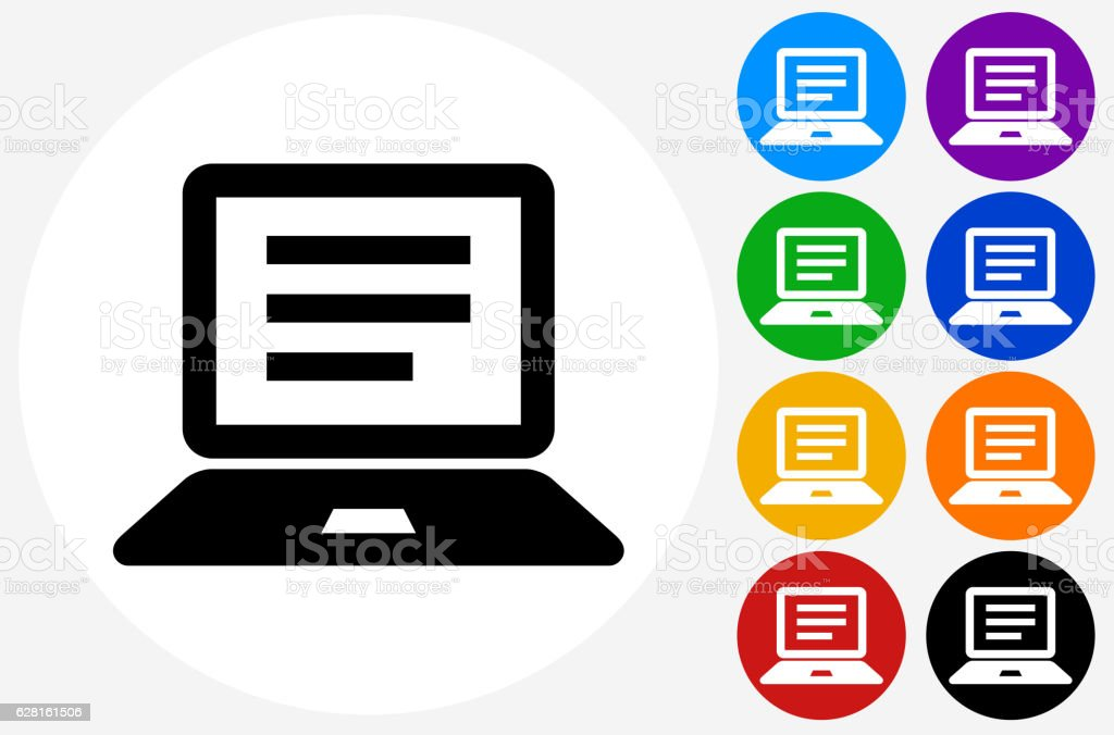 Computer Document Icon on Flat Color Circle Buttons vector art illustration