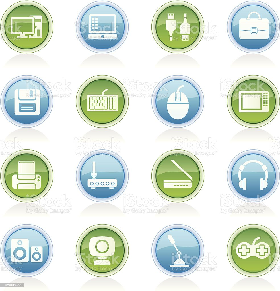 Computer equipment and periphery icons stock photo