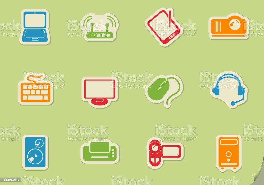 Computer equipment icons vector art illustration