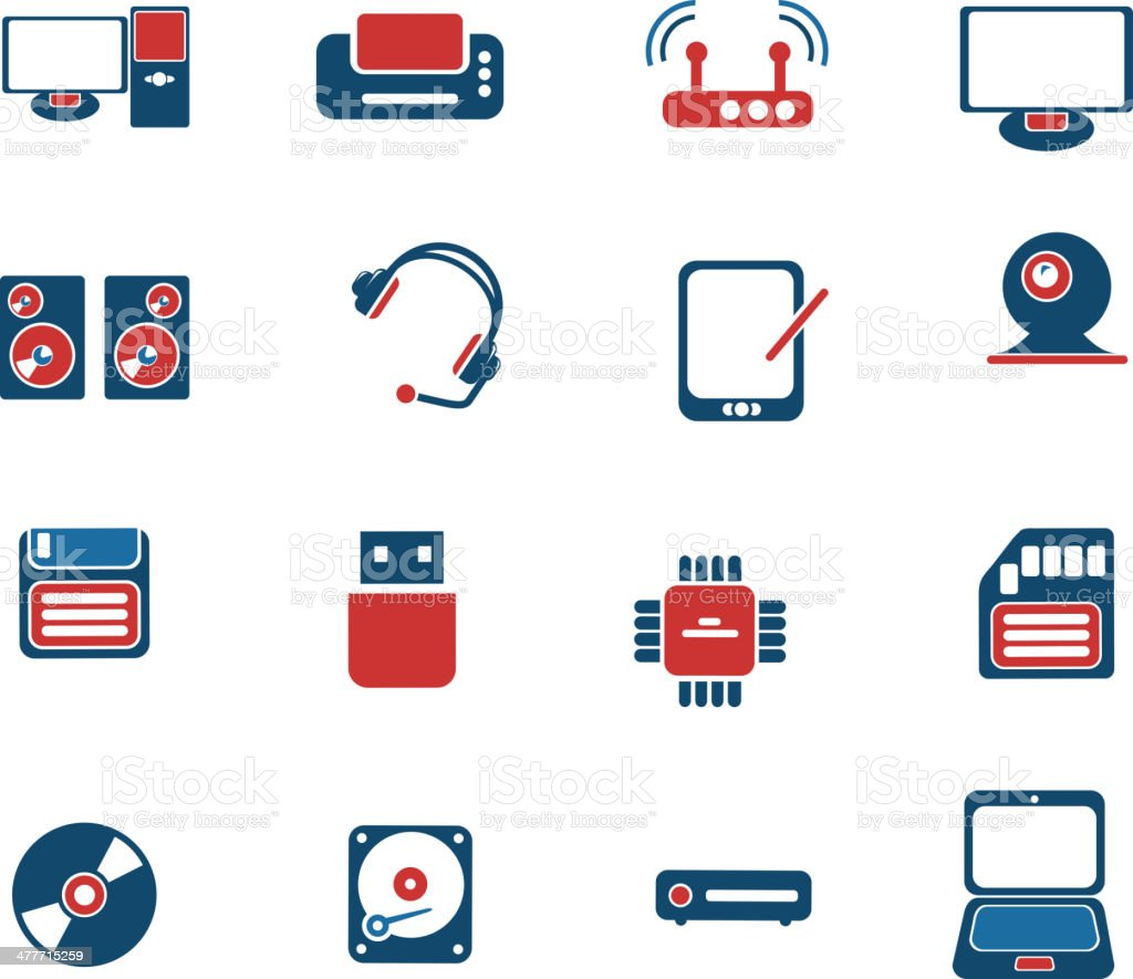 Computer equipment simple vector icons royalty-free stock vector art