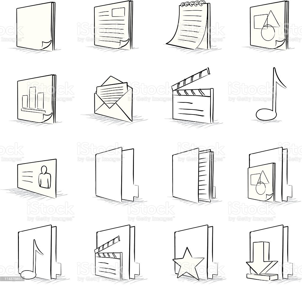 Computer File and Folder Icon Set royalty-free stock vector art