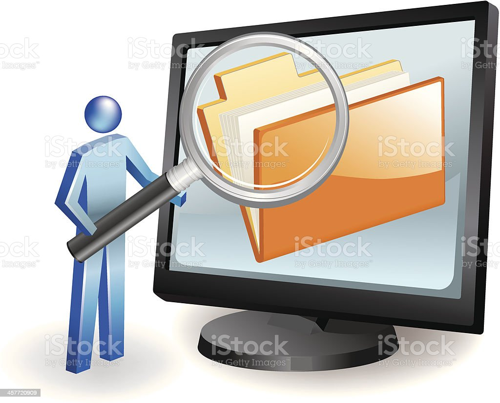 Computer File Search royalty-free stock vector art