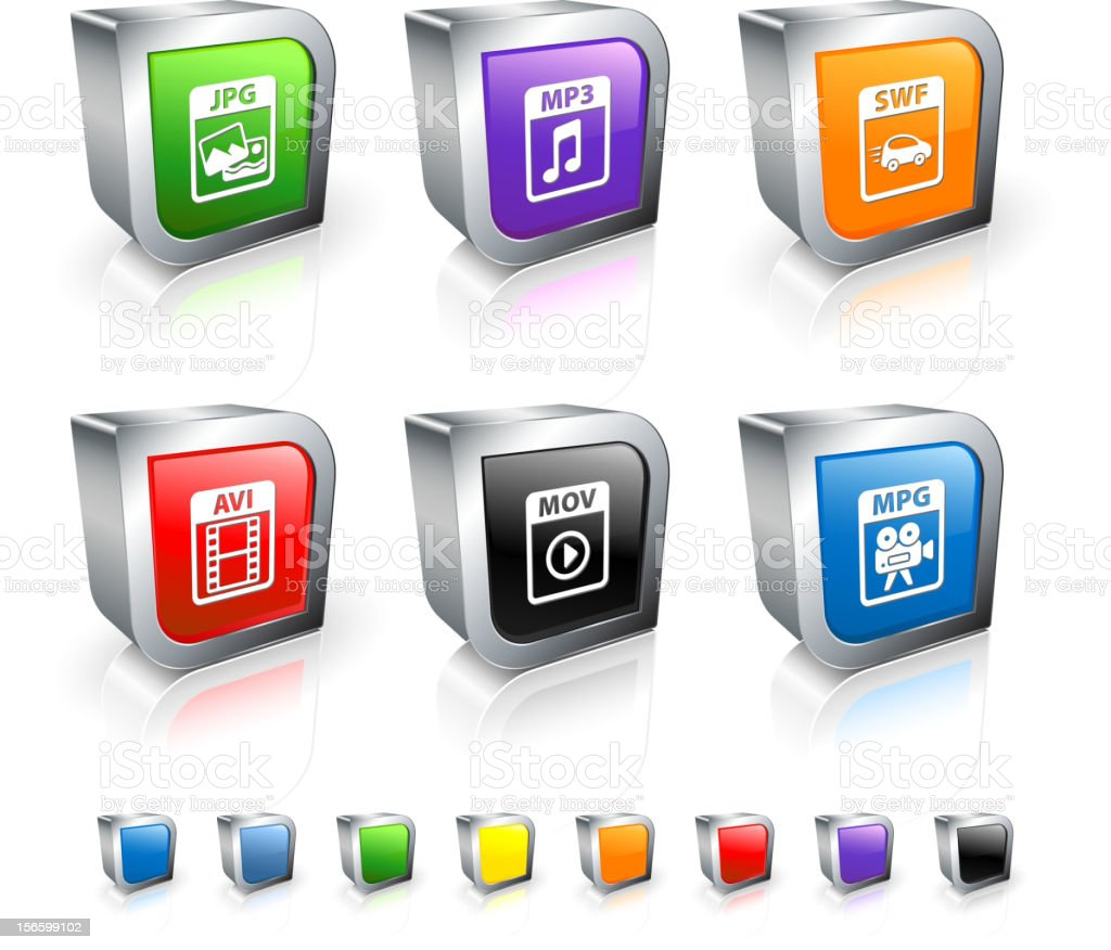 Computer Files 3D vector icon set with Metal Rim vector art illustration