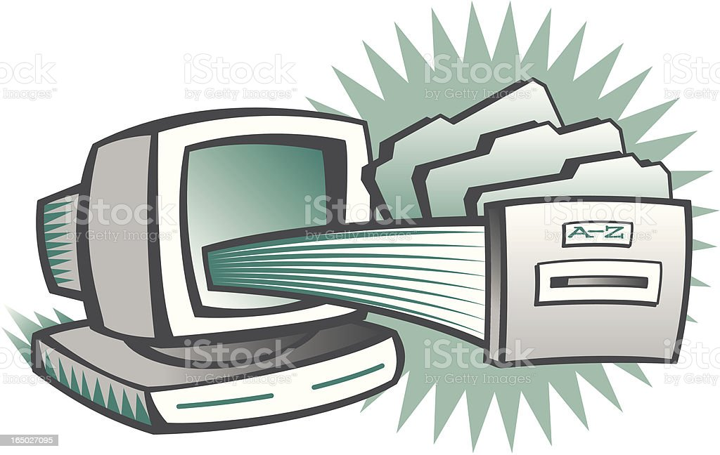 Computer Filing vector art illustration