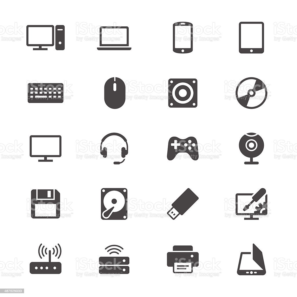 Computer flat icons vector art illustration
