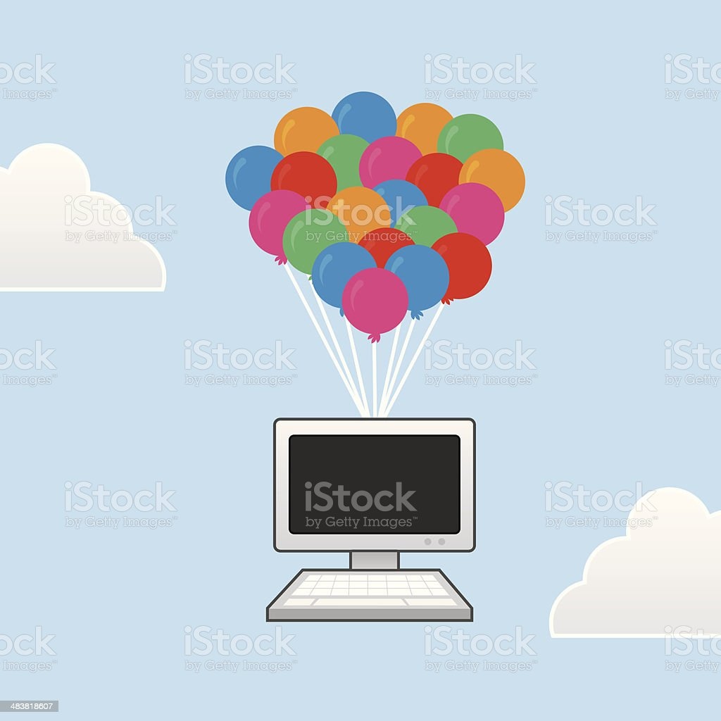 Computer Floating Balloons royalty-free stock vector art