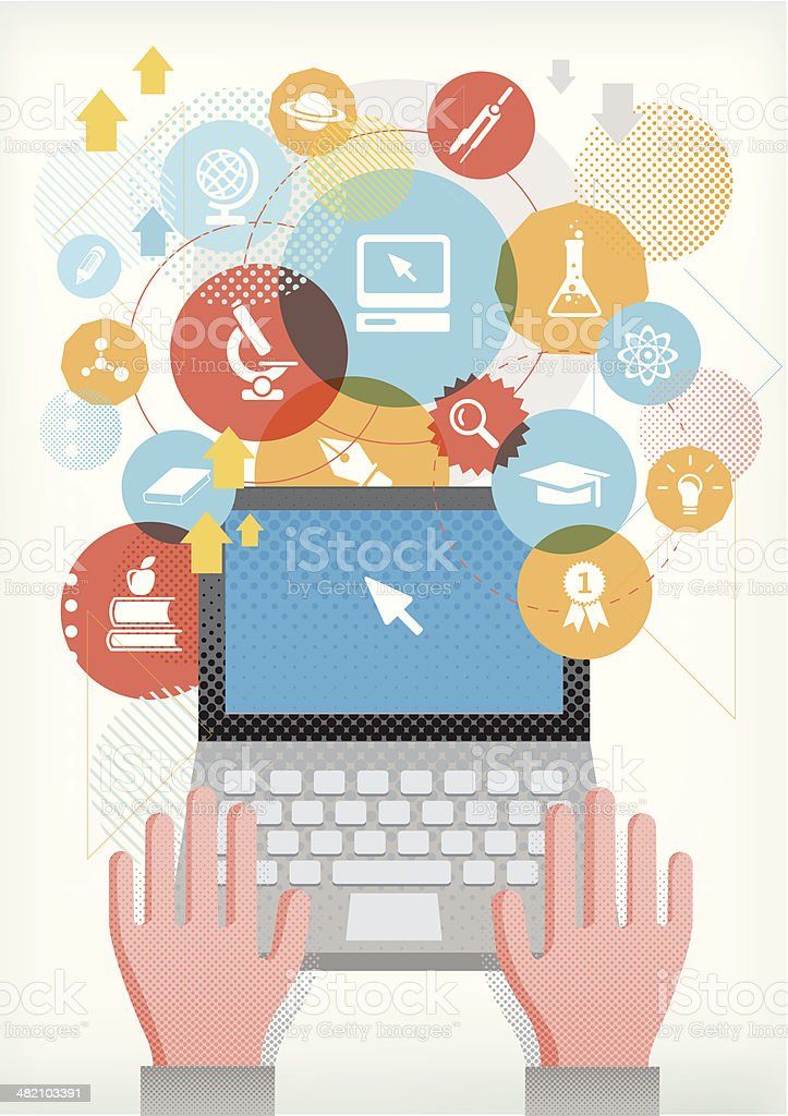 Computer for education royalty-free stock vector art