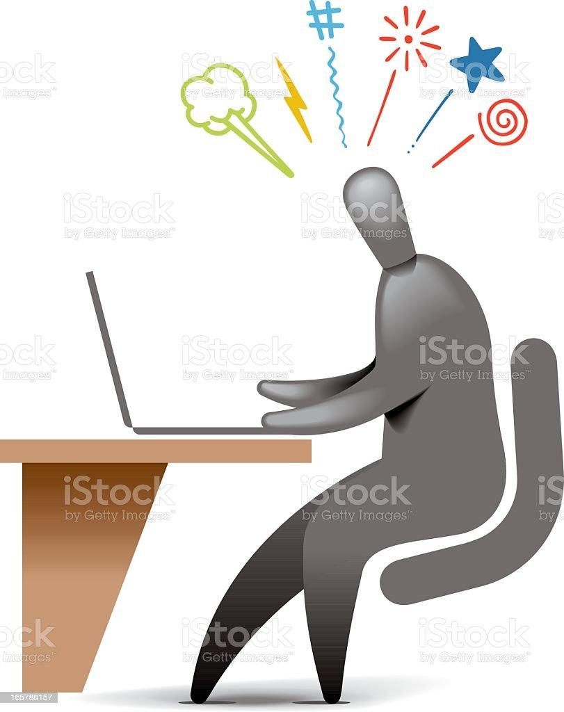 Computer Frustration vector art illustration