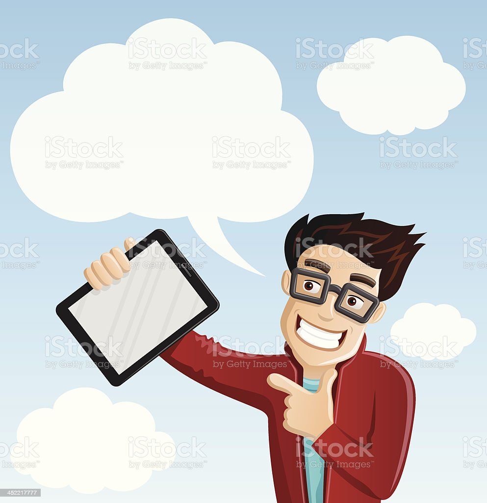 Computer Geek 5 - Cloud Computing, Pointing at Tablet PC royalty-free stock vector art