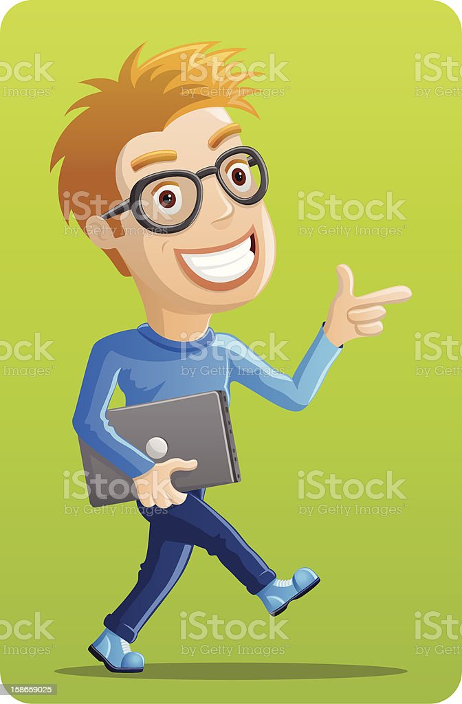 Computer Geek - Pointing with Laptop royalty-free stock vector art
