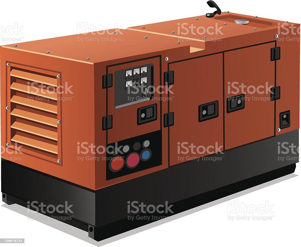 Computer generated rendering of industrial power generator vector art illustration