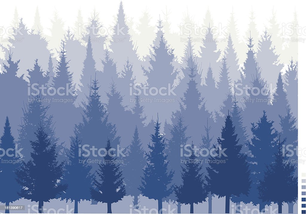Computer graphic conifer tree forest in hues of blue royalty-free stock vector art