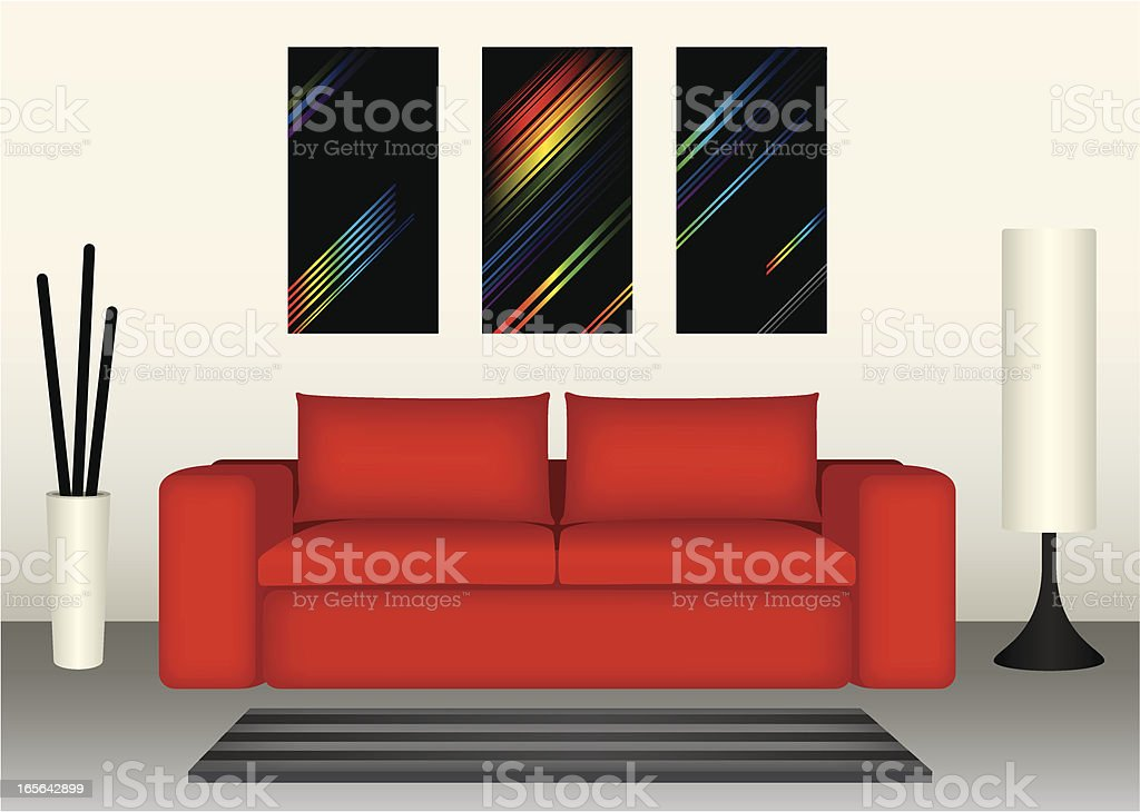 Computer graphic of a modern lounge and red couch royalty-free stock vector art