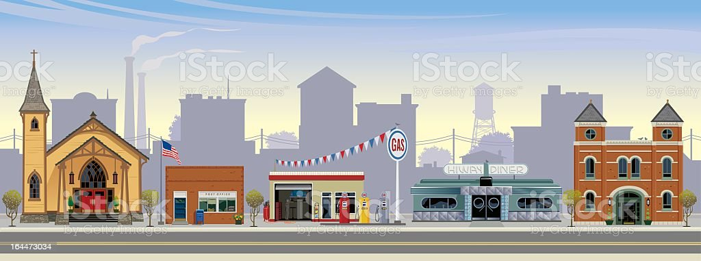 Computer graphic of a small town street vector art illustration