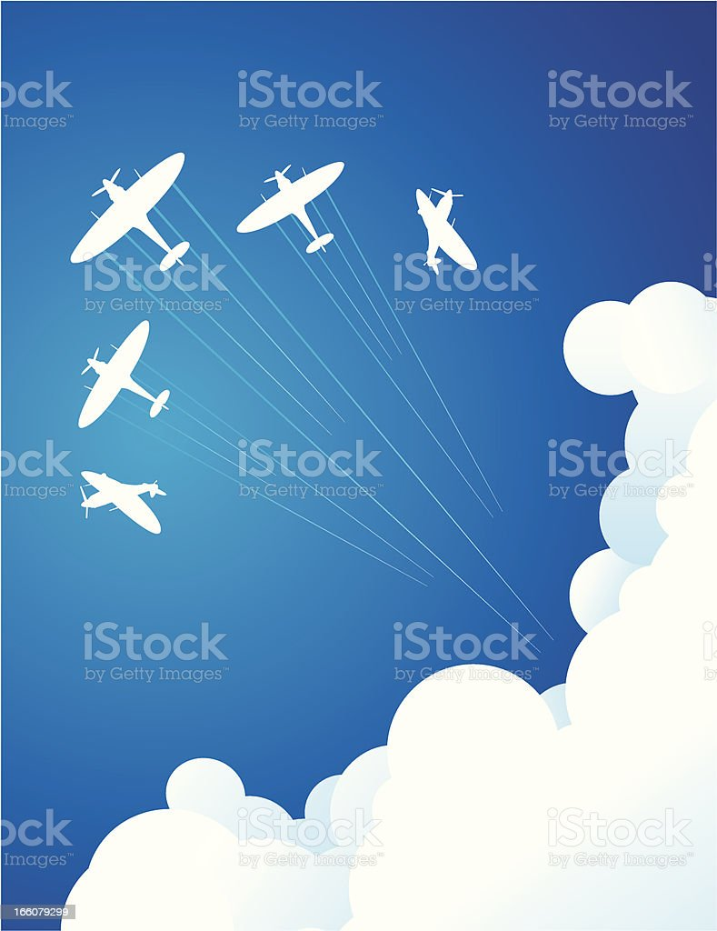Computer graphic of air show in blue sky vector art illustration