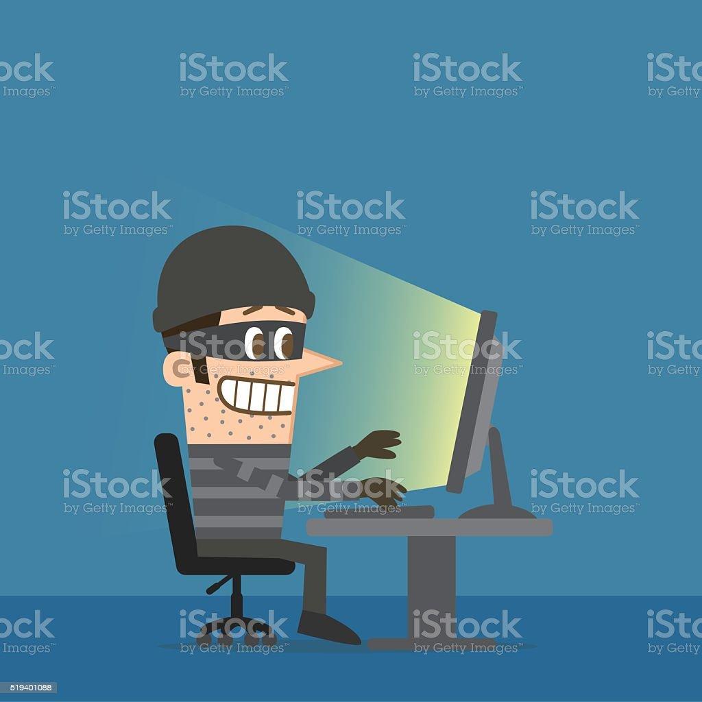 Computer hacker in the dark vector art illustration