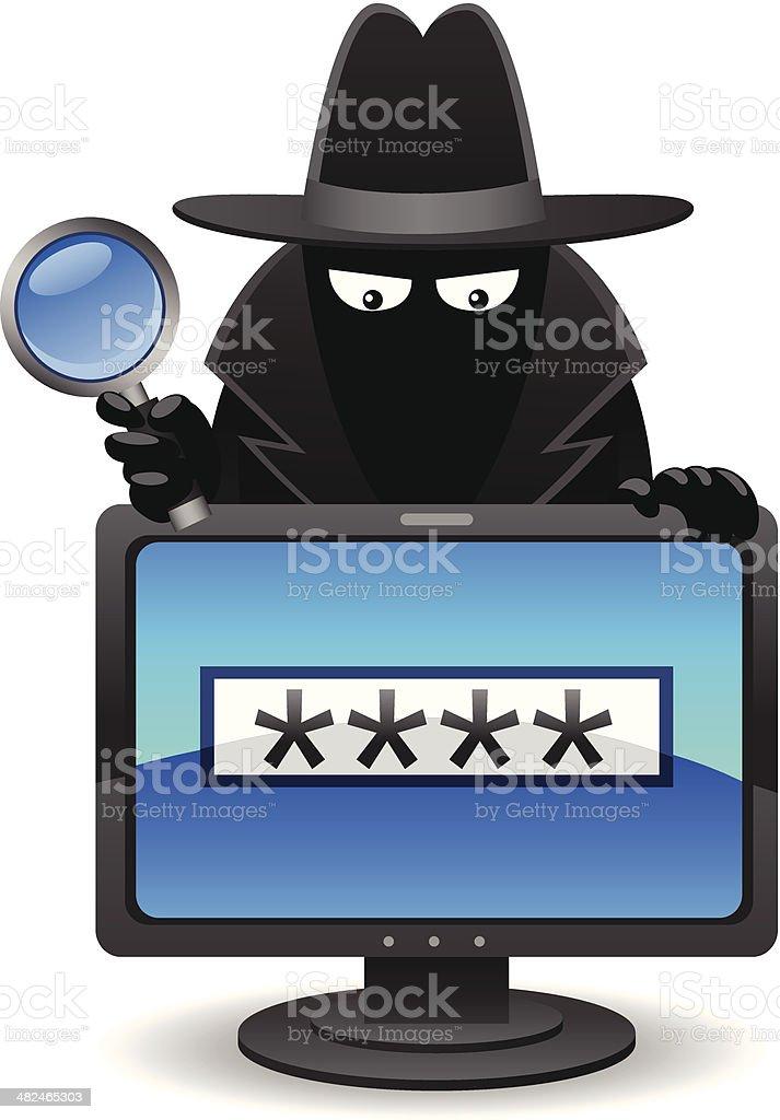 Computer Hacker vector art illustration