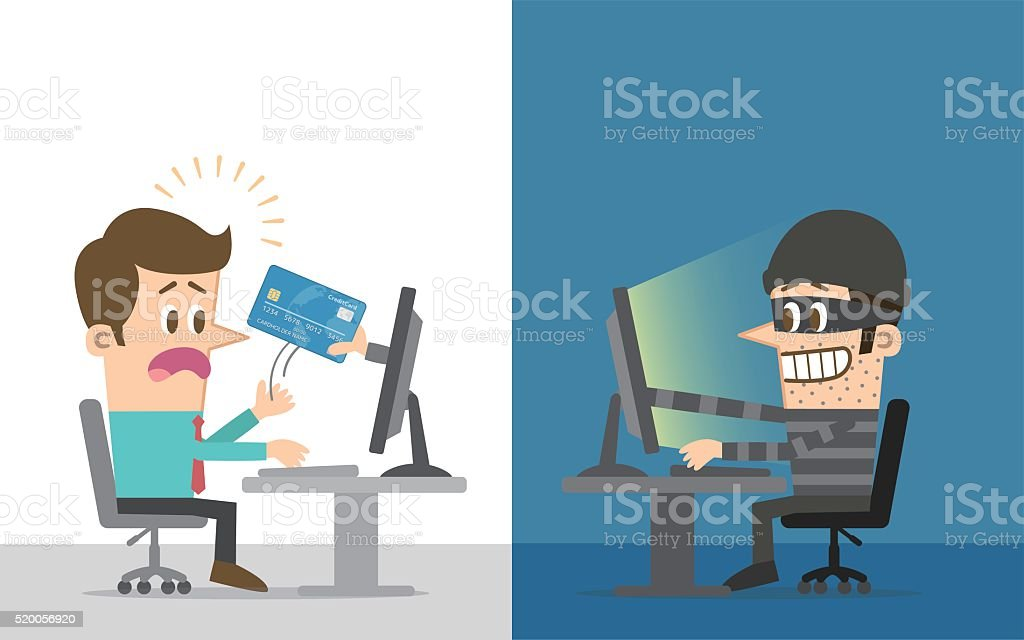 Computer hacker vector art illustration