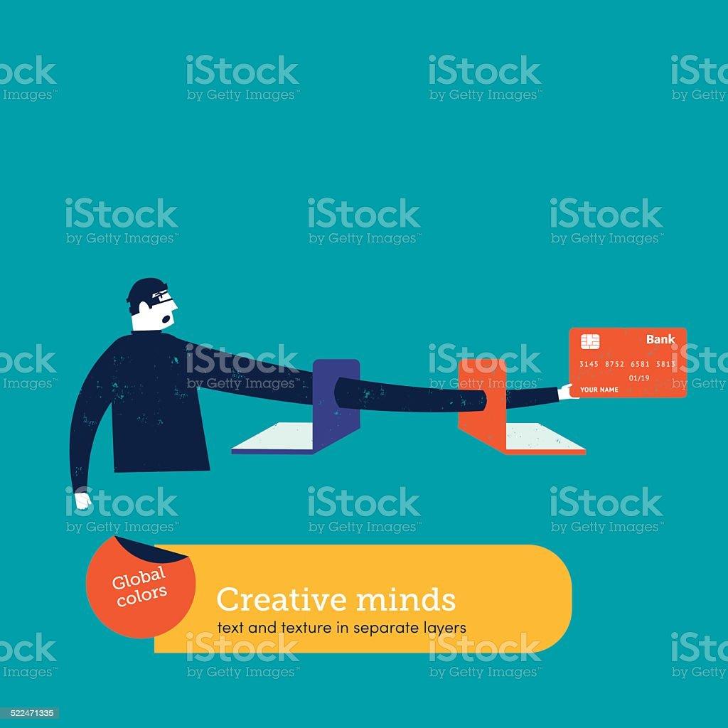 Computer hacker with credit card vector art illustration