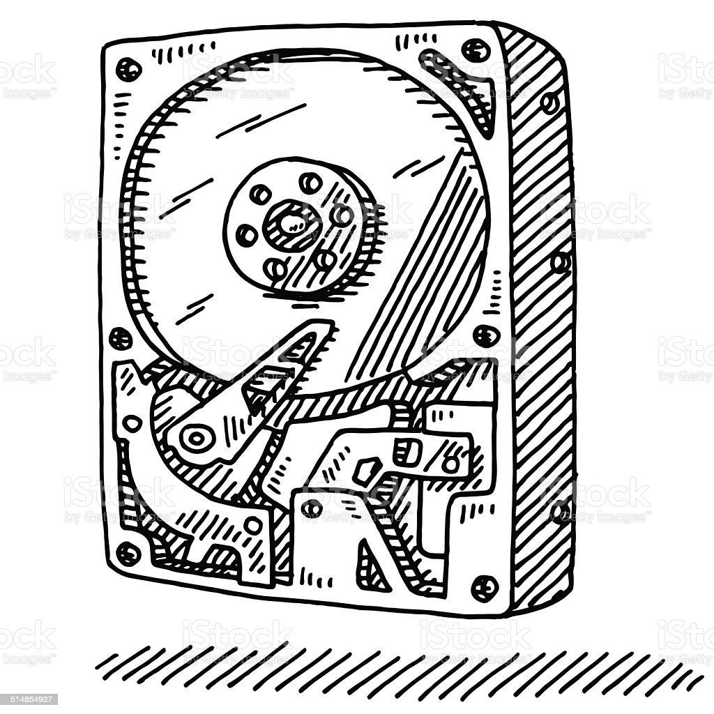Computer Hard Disk Drive Drawing vector art illustration