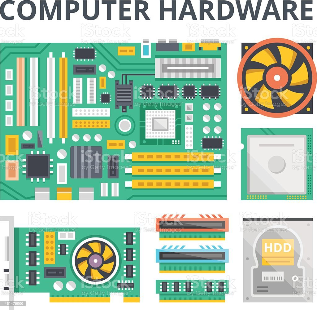 Computer hardware flat illustration concepts and flat icons set vector art illustration