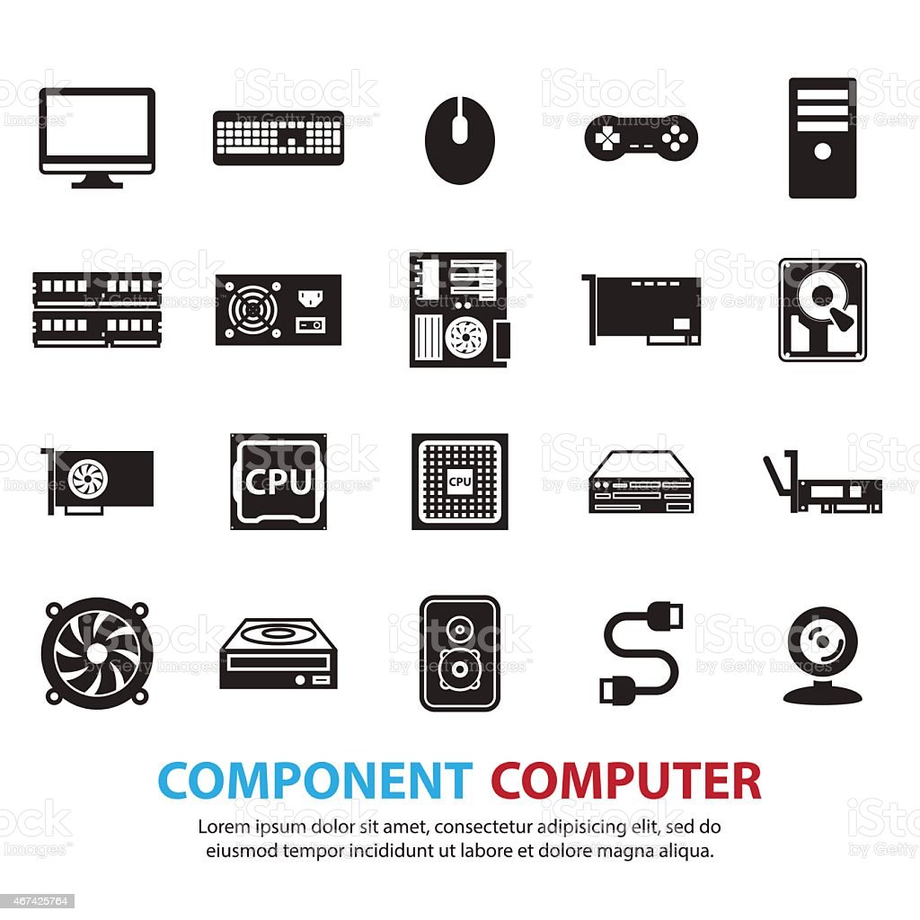 computer hardware icons set vector art illustration