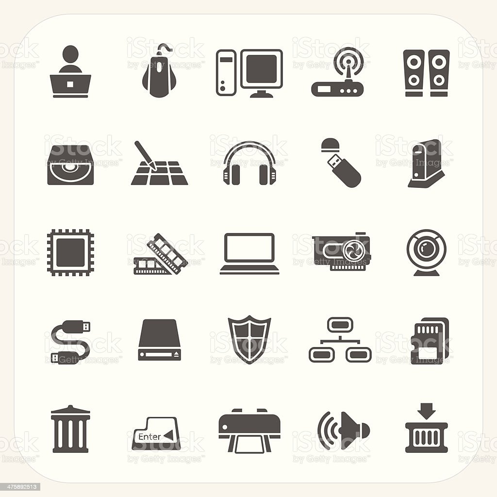 Computer Hardware icons set vector art illustration