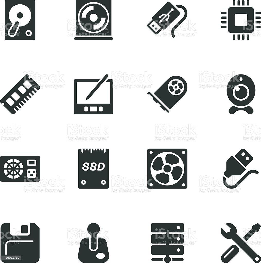 Computer Hardware Silhouette Icons | Set 2 vector art illustration