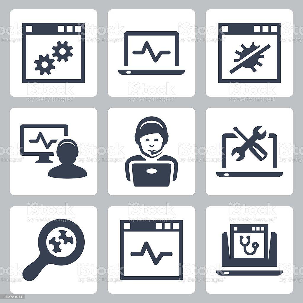 Computer help-line vector icons set vector art illustration