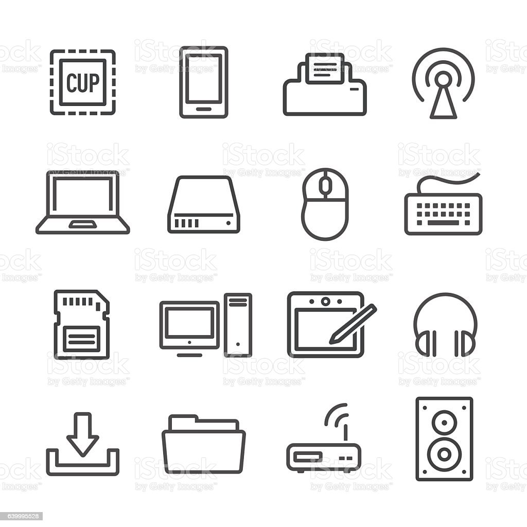 Computer Icon - Line Series vector art illustration