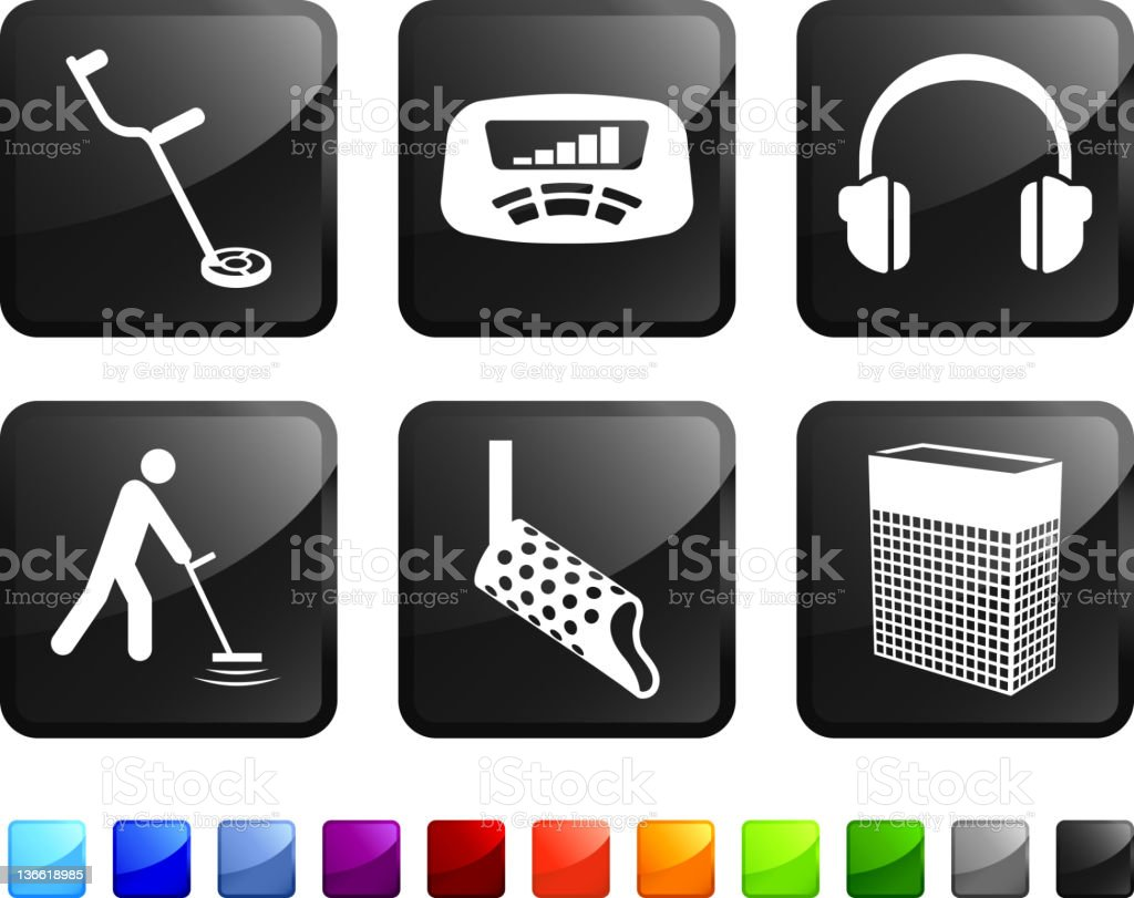 Computer icon metal detection tools stickers that vector art illustration