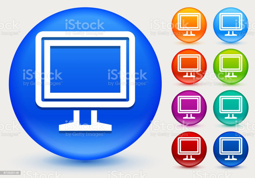 Computer Icon on Shiny Color Circle Buttons vector art illustration