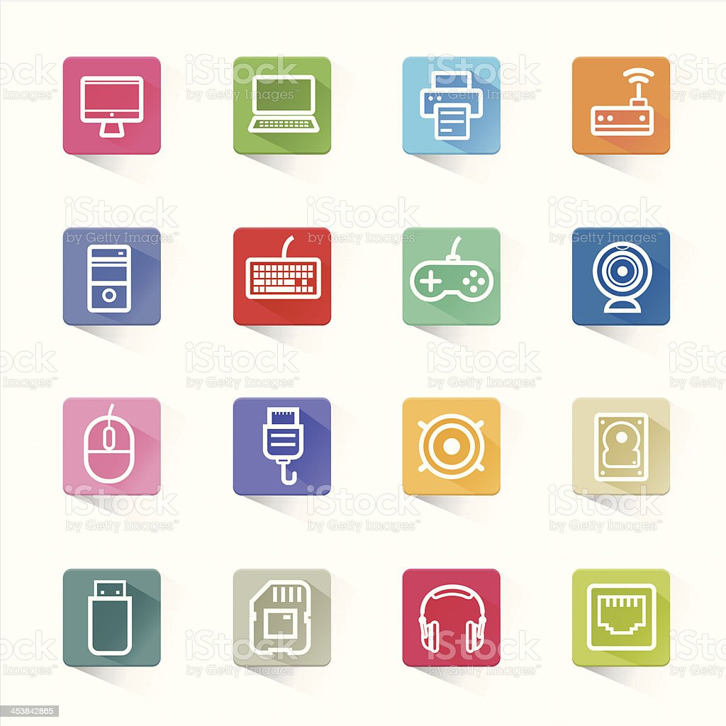 Computer icon set and white background royalty-free stock vector art
