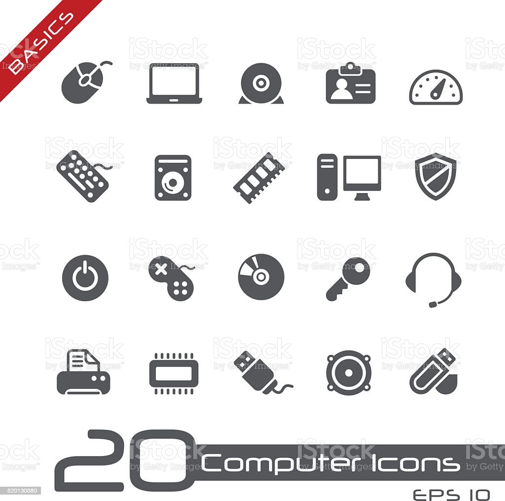 Computer Icons // Basics vector art illustration