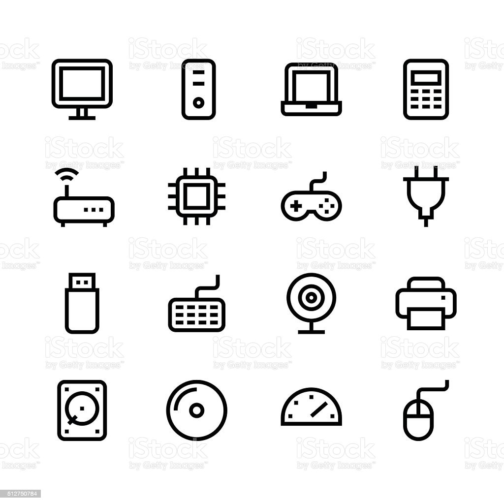 Computer icons - line - black series vector art illustration