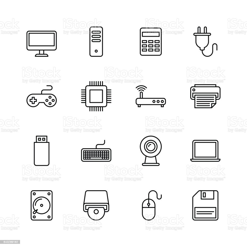 Computer icons - line vector art illustration