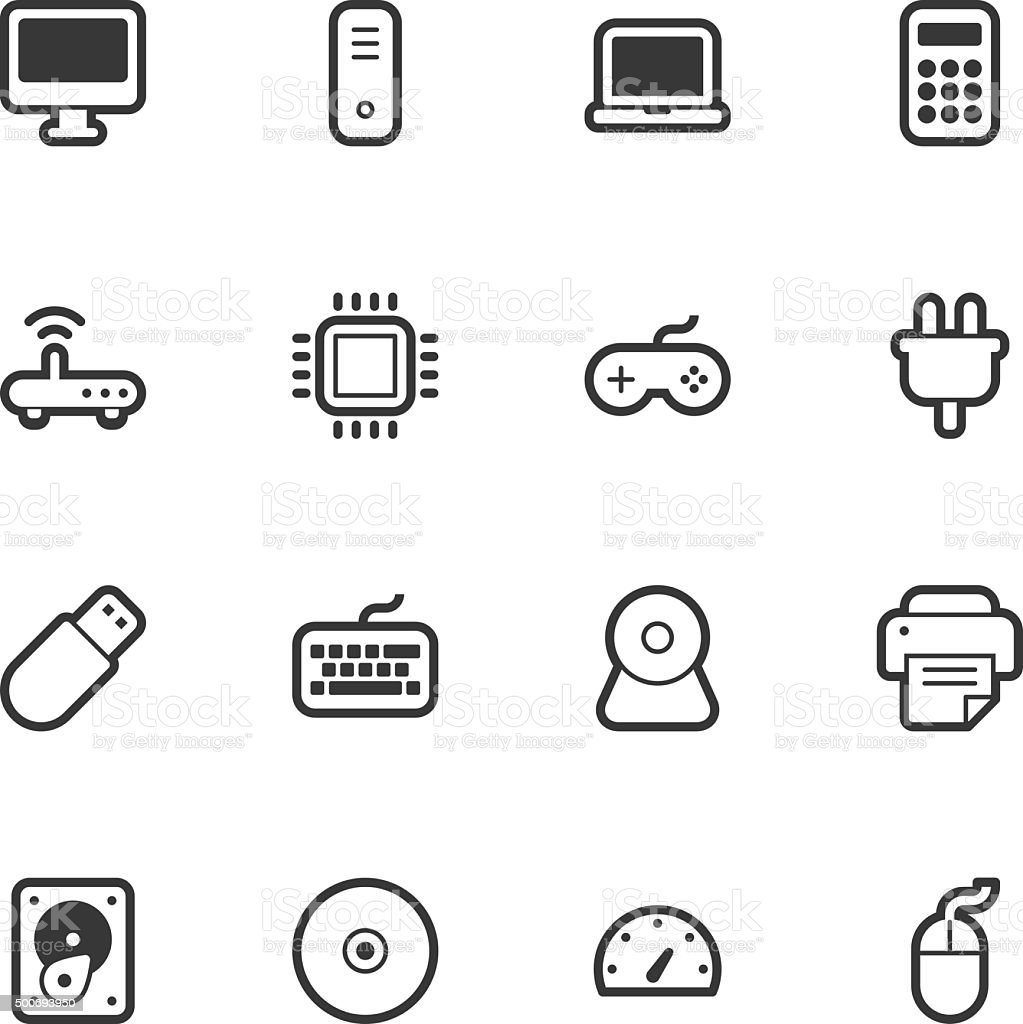 Computer icons - Regular Outline vector art illustration