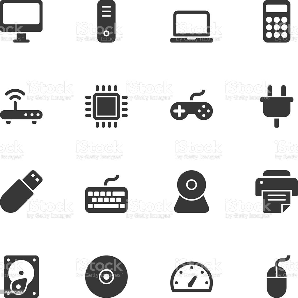Computer icons - Regular vector art illustration