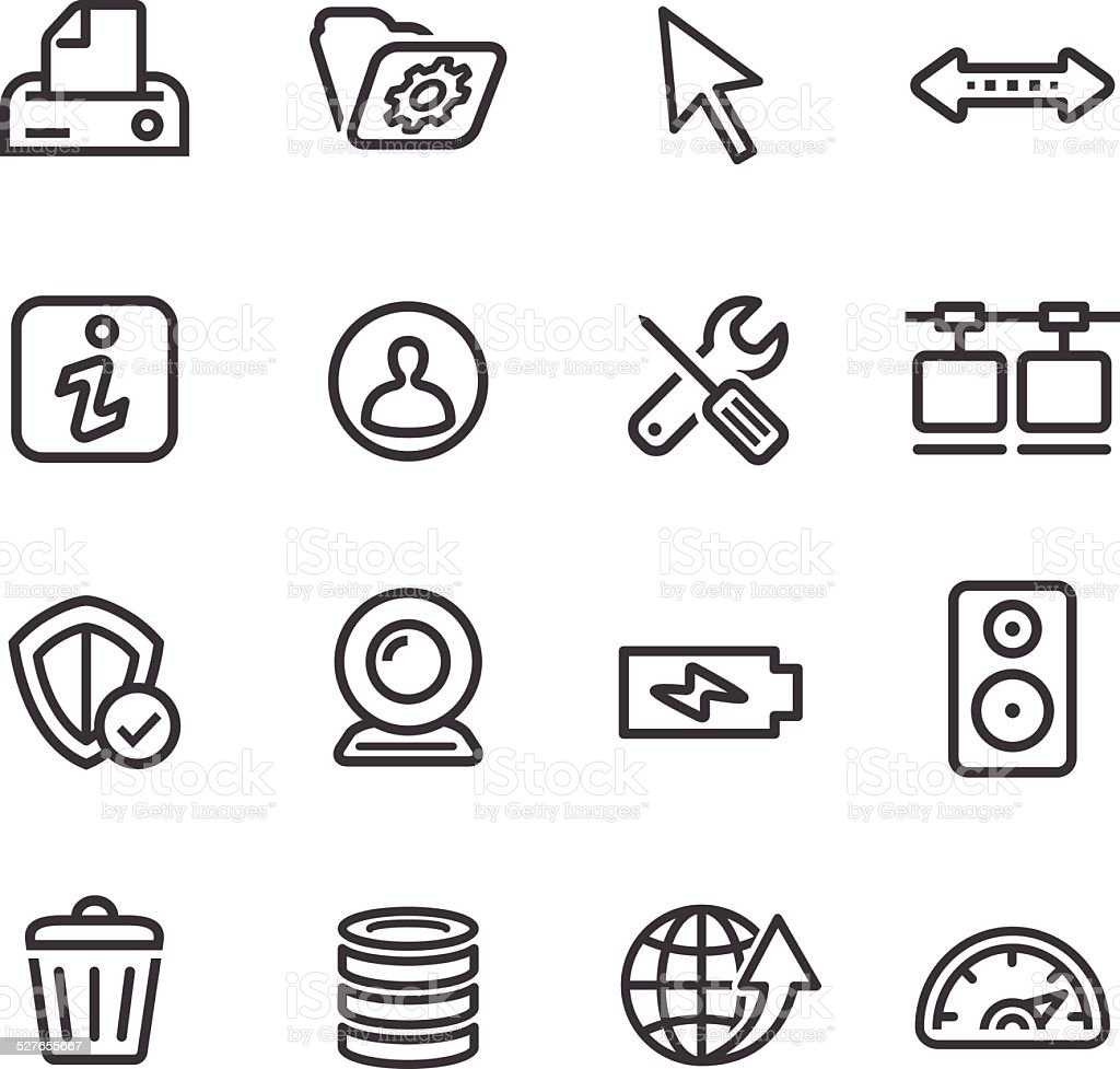 Computer Icons Set - Line Series vector art illustration