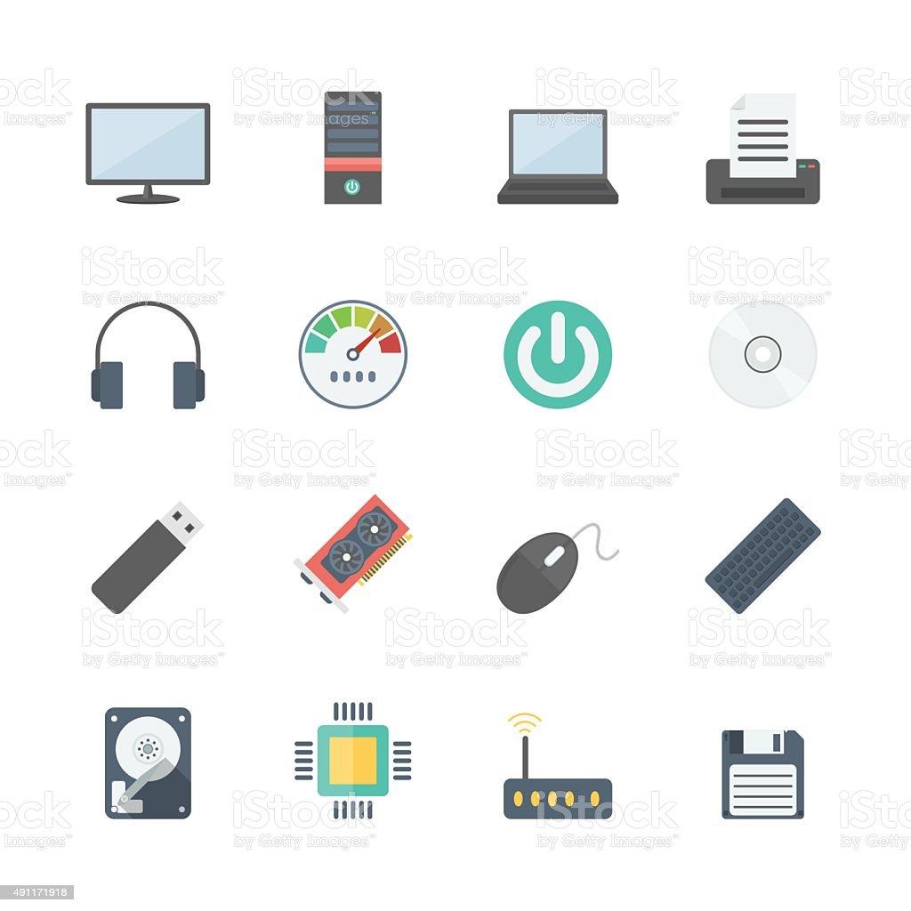 computer icons set vector art illustration