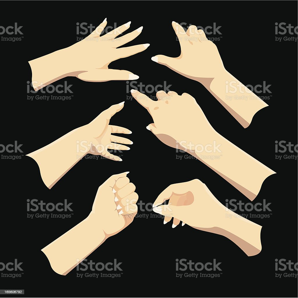 Computer illustration of hand gestures on black background vector art illustration