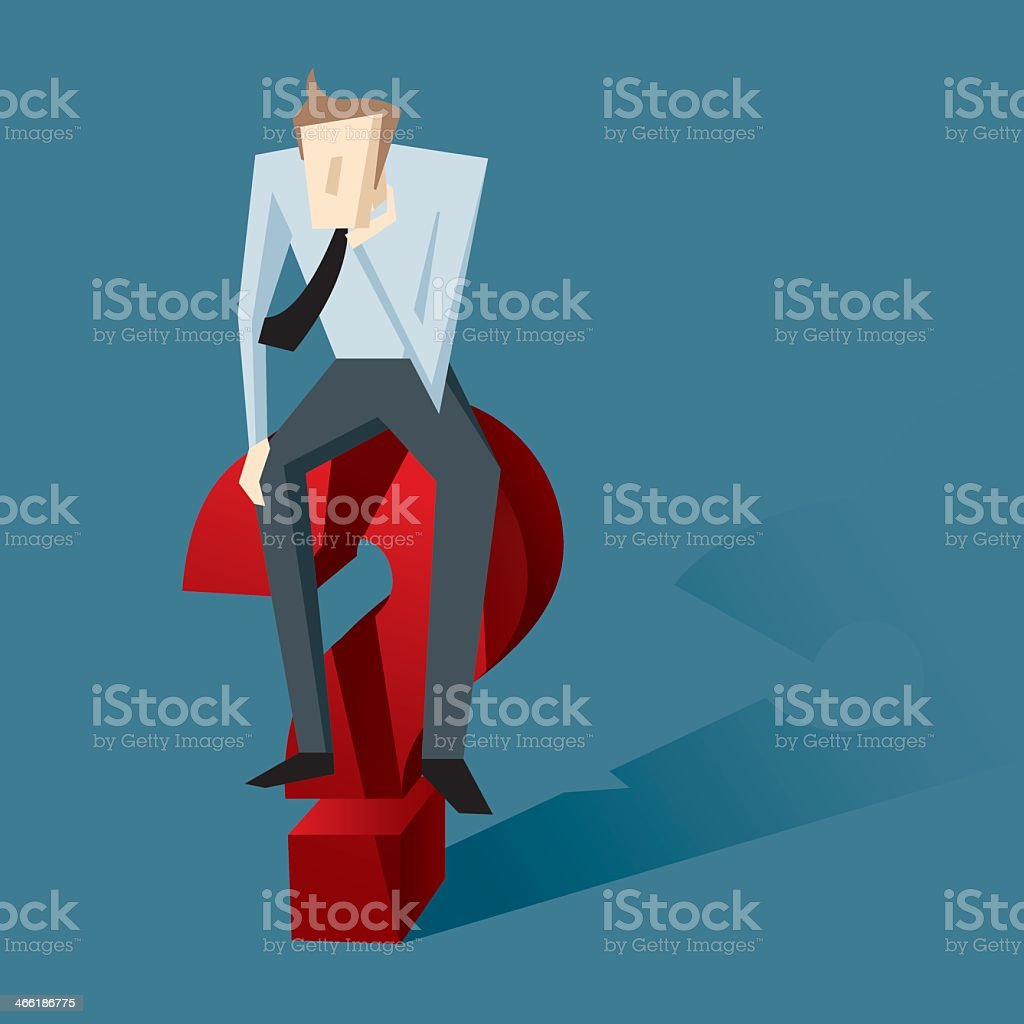 Computer image of a man sitting on a question mark vector art illustration