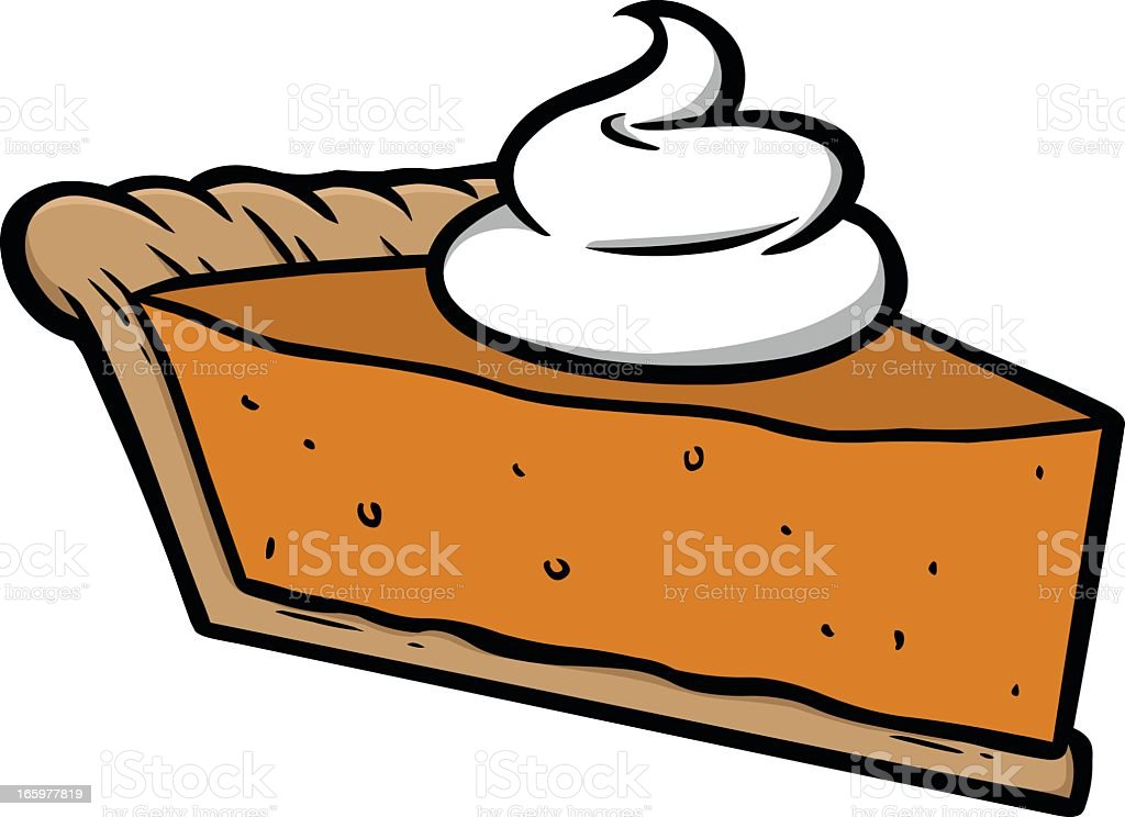 Computer image of pumpkin pie with whipped cream on top vector art illustration