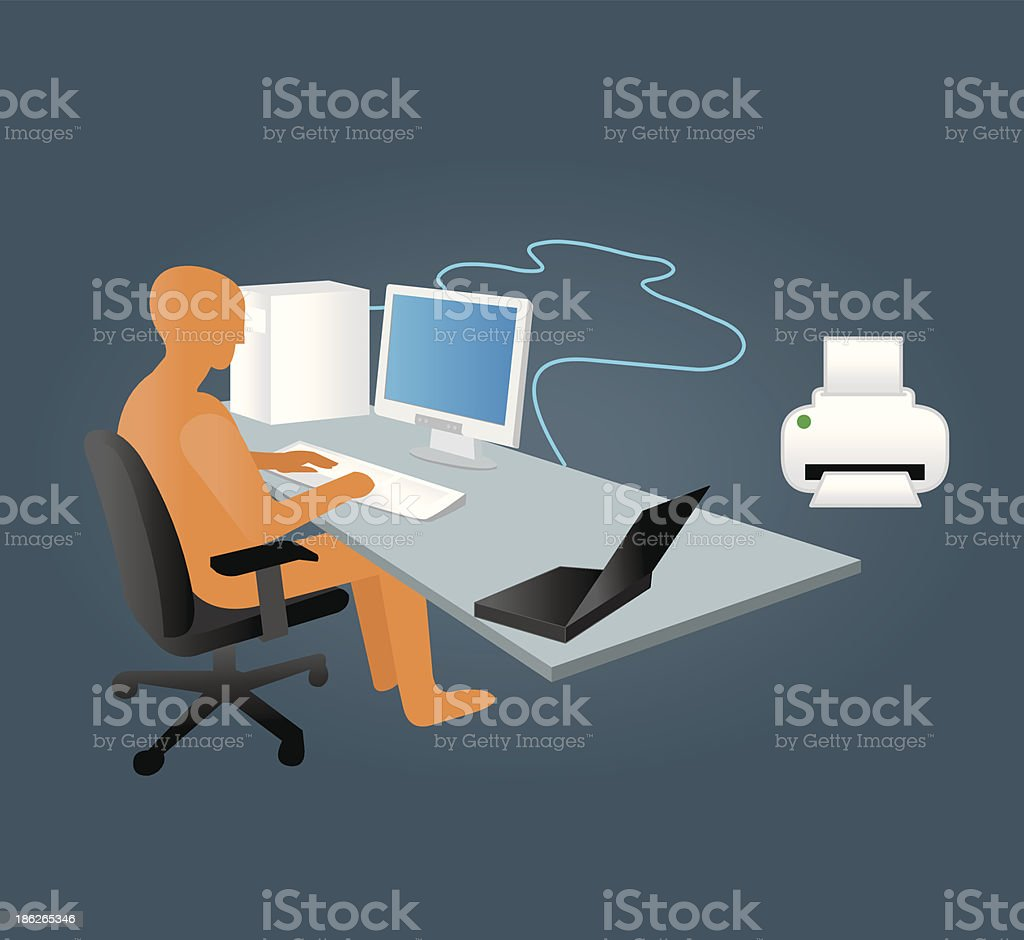 computer in office royalty-free stock vector art