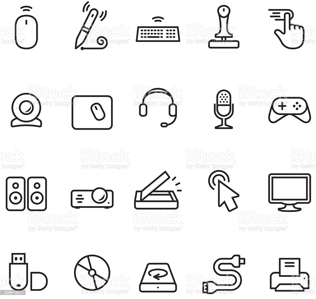 Computer Input and Part icon vector art illustration