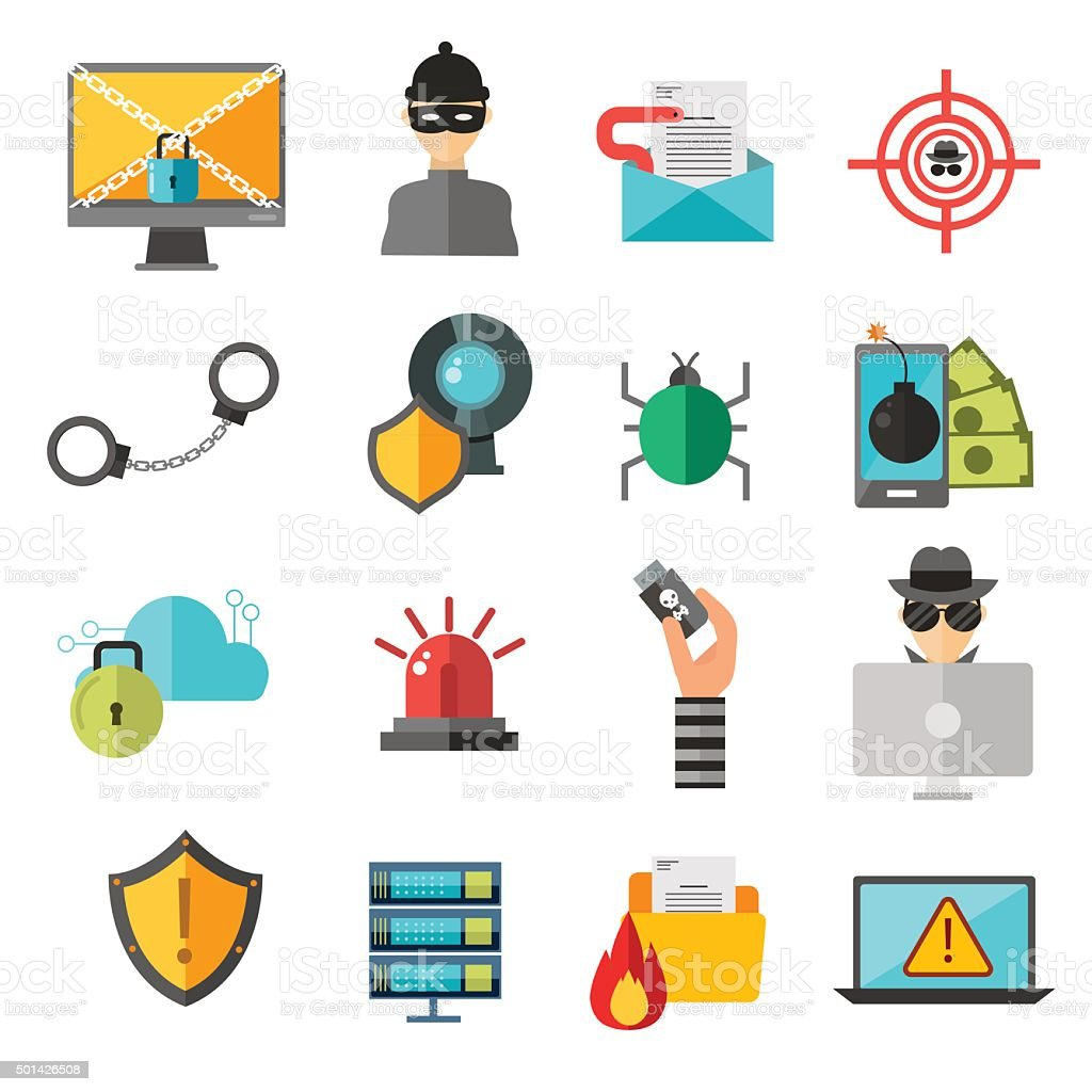 Computer internet safety vector icons vector art illustration
