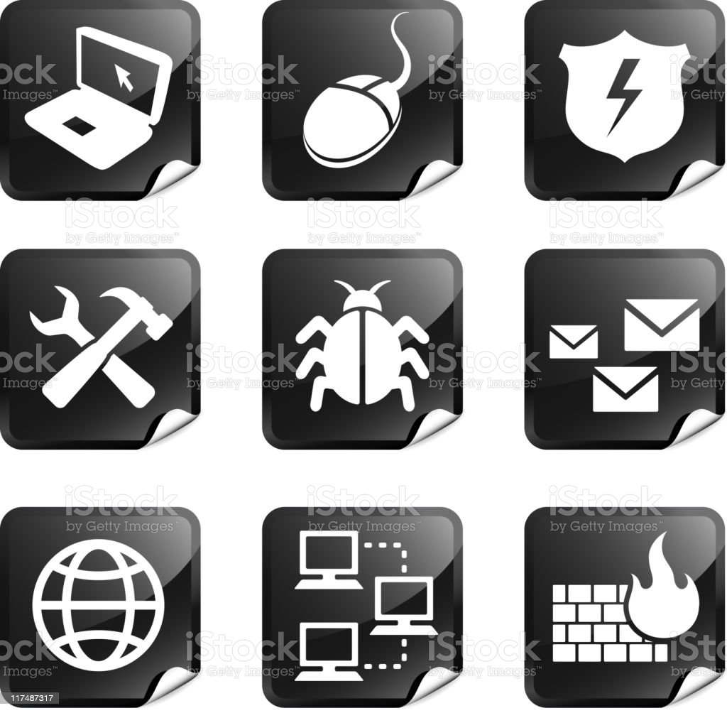 computer internet security nine royalty free vector icon set royalty-free stock vector art