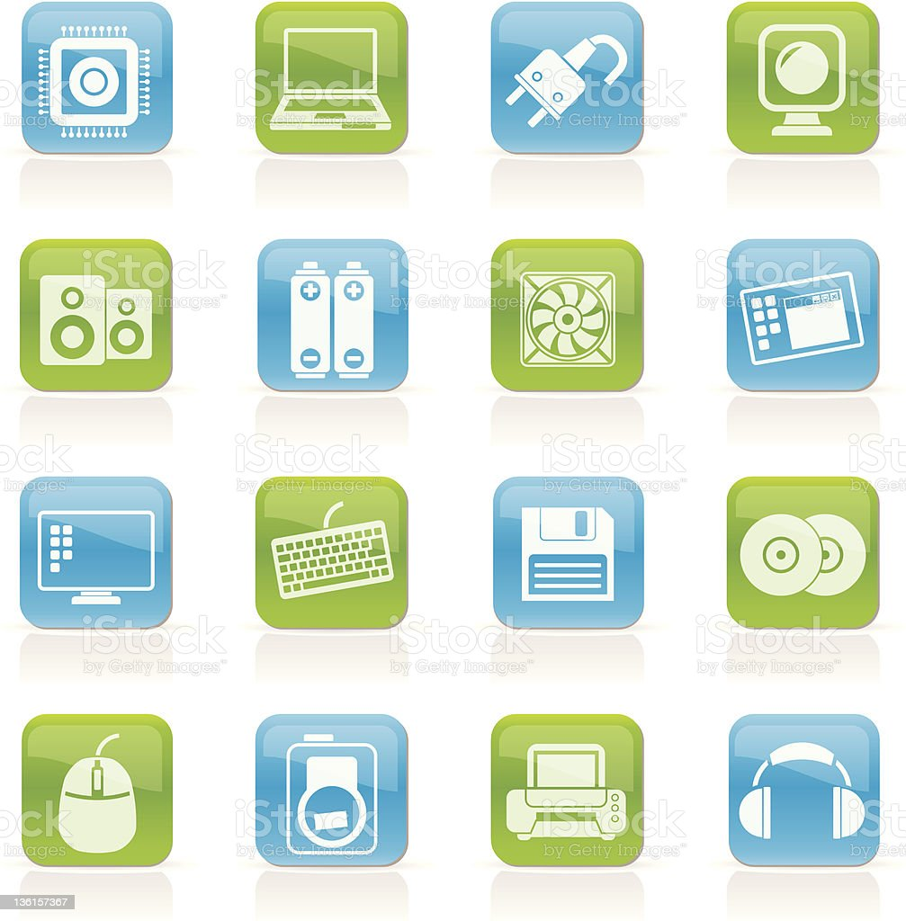 Computer Items and Accessories icons royalty-free stock vector art